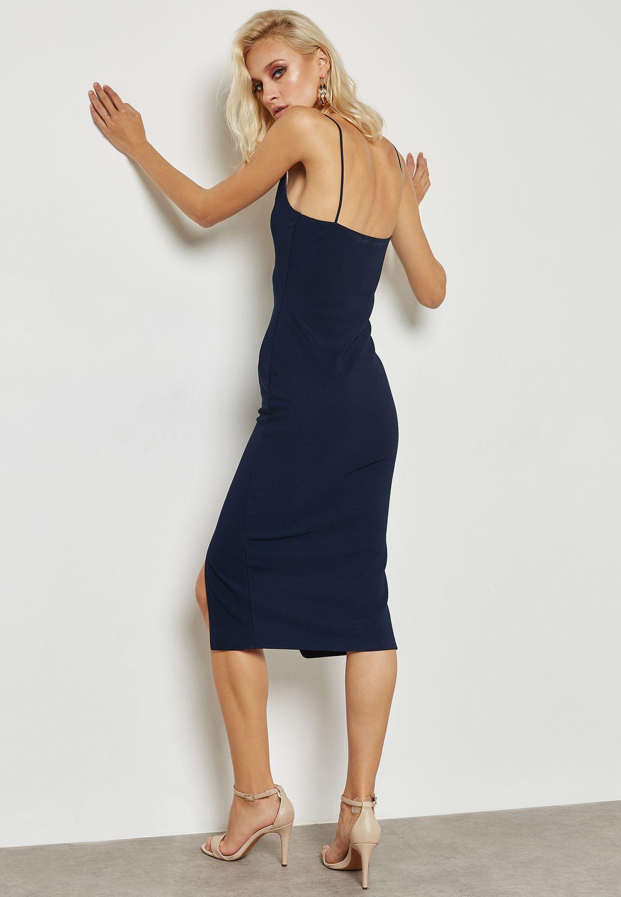 Strappy Cowl Neck Midi Dress