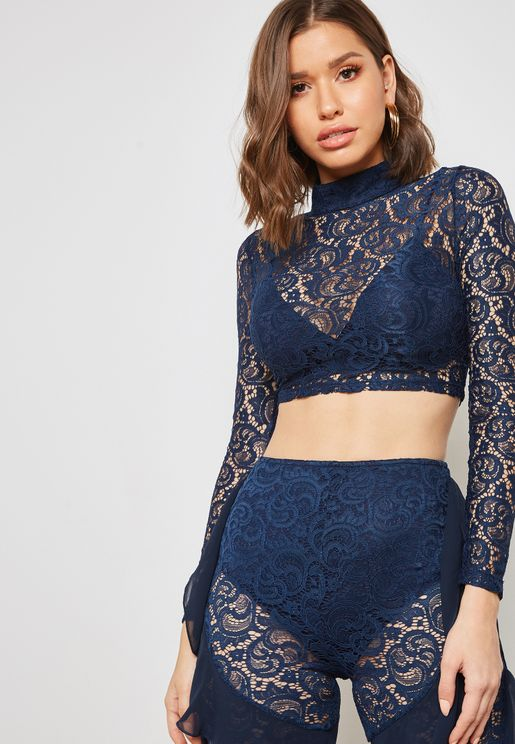 High Neck Lace Top Co-ord