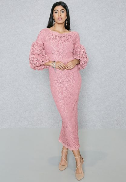 Puffed Sleeve Lace Dress