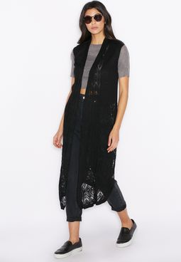 MANGO Sleeveless Long Line Cardigan
