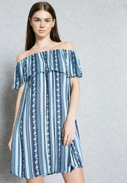 Floral Print Striped Bardot Dress