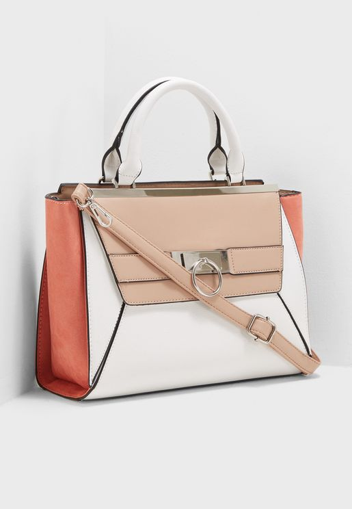 Colour Block Ring Front Tote