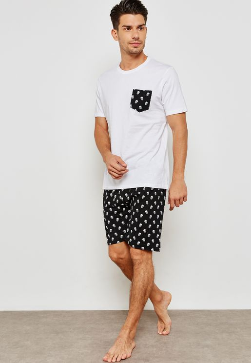 Majestic Skull Printed Pyjama Shorts Set