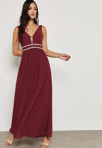 Deep Back Contrast Detail Maxi Dress