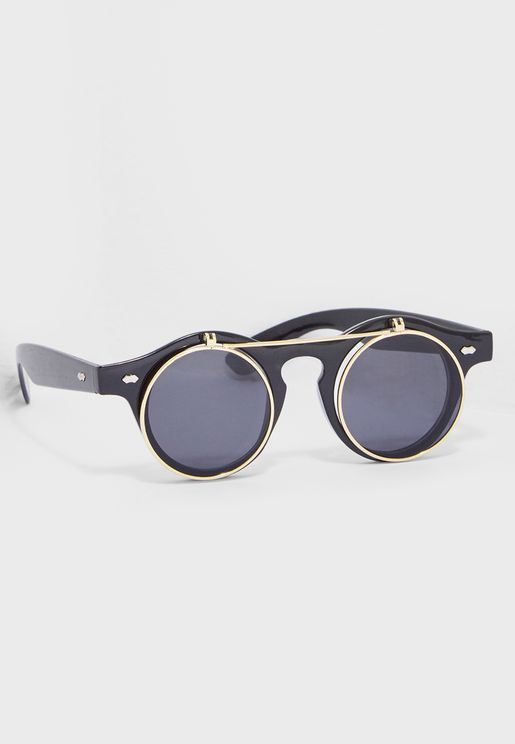 Round Flap Vintage Sunglasses