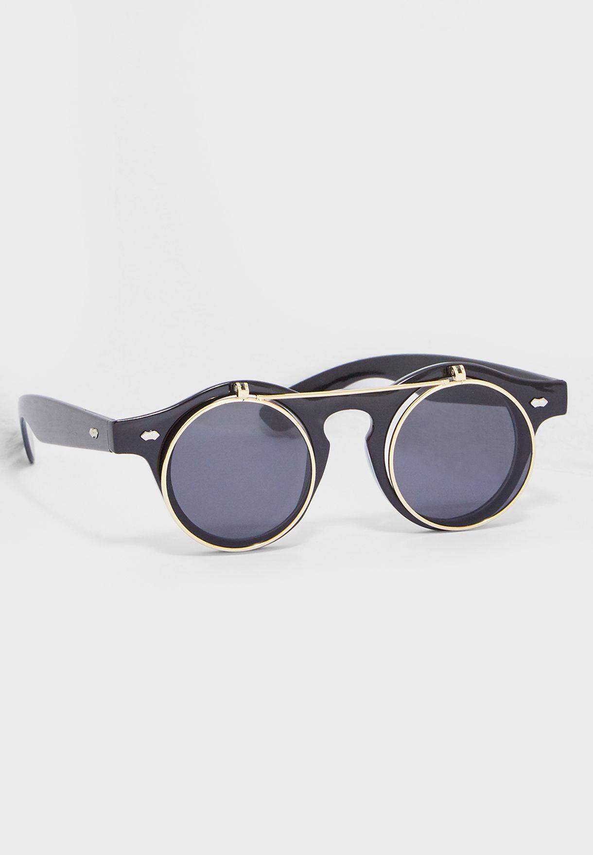 e45db9922036 Shop Seventy five black Round Flap Vintage Sunglasses 2020 for Men ...