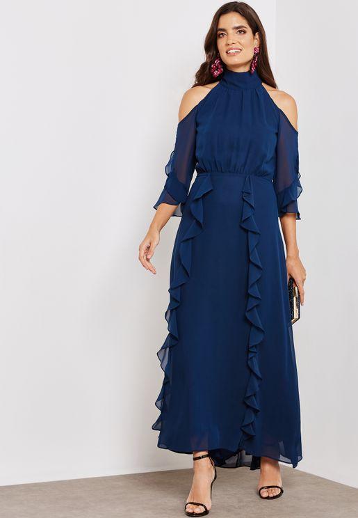 Cold Shoulder High Neck Dress