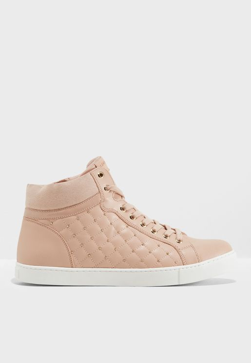 High Top Quilted Lace Up Sneaker