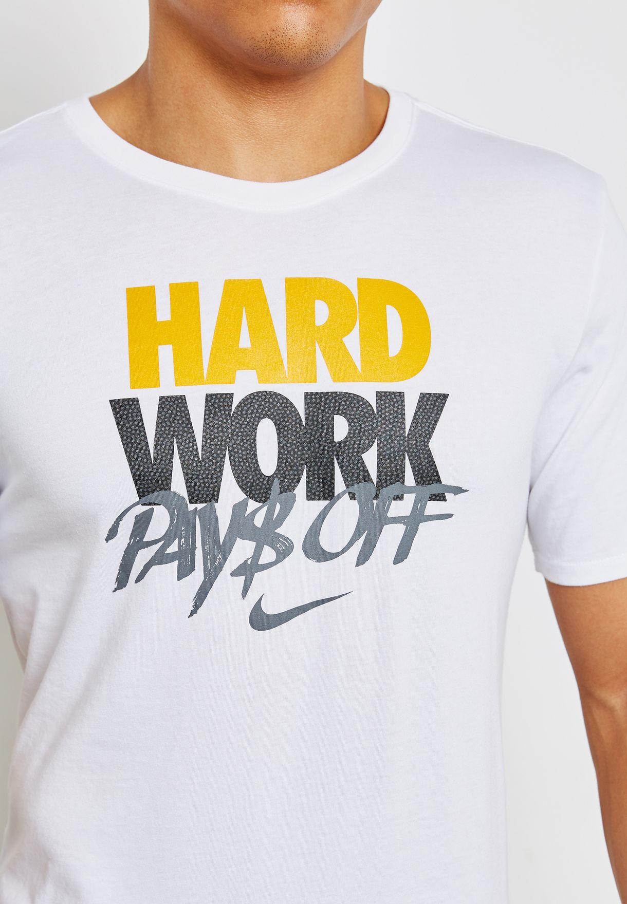 6e22b1d806216 Shop Nike white Dri-FIT Hard Work T-Shirt 924241-100 for Men in UAE ...