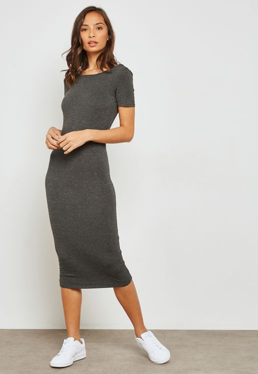 Deep U-Back Midi Dress