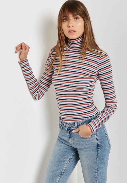 Roll Neck Striped Long Sleeve T-Shirt