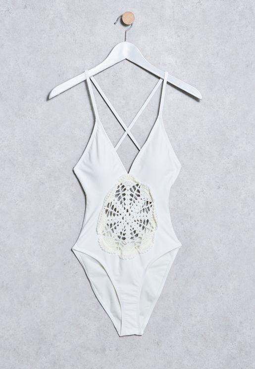 Floral Crochet Swimsuit
