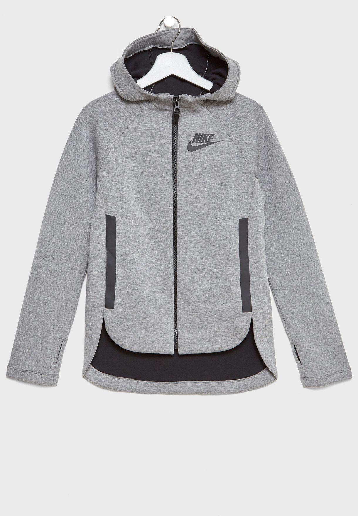 5397d223427e Shop Nike grey Youth Tech Fleece Hoodie 890255-091 for Kids in Qatar -  NI727AT61QAC