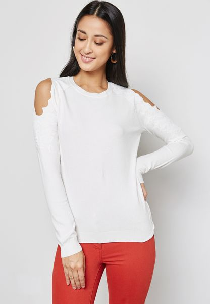 Cold Shoulder Lace Sweater