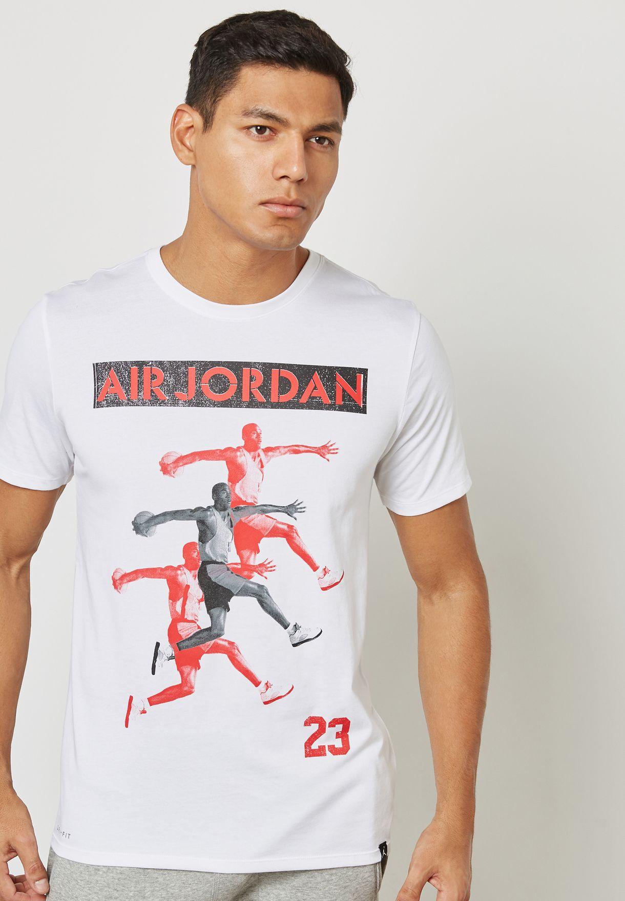 4fae9c694189dd Shop Nike white Jordan Dri-FIT T-Shirt 916134-100 for Men in Saudi ...