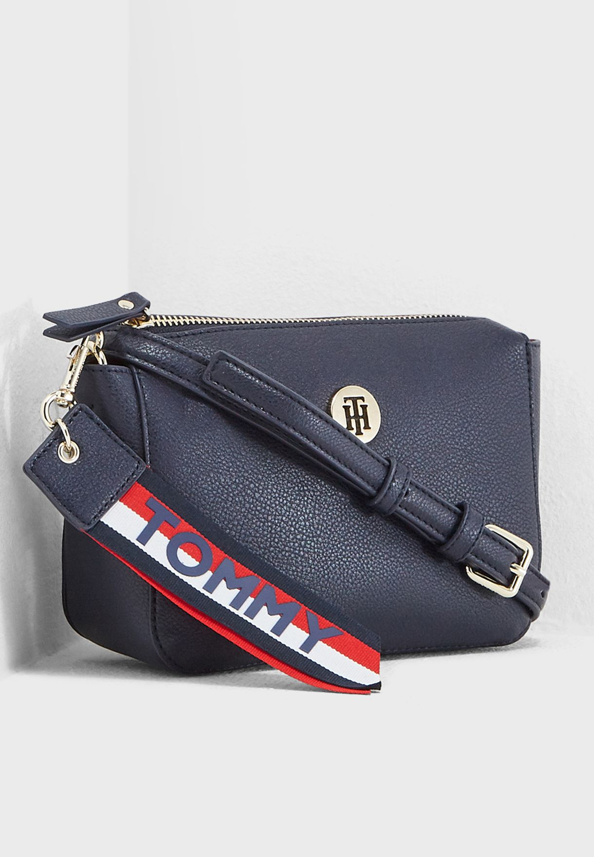 6febdb298e6 Shop Tommy Hilfiger navy Charming Flap Crossbody AW0AW05689 for ...