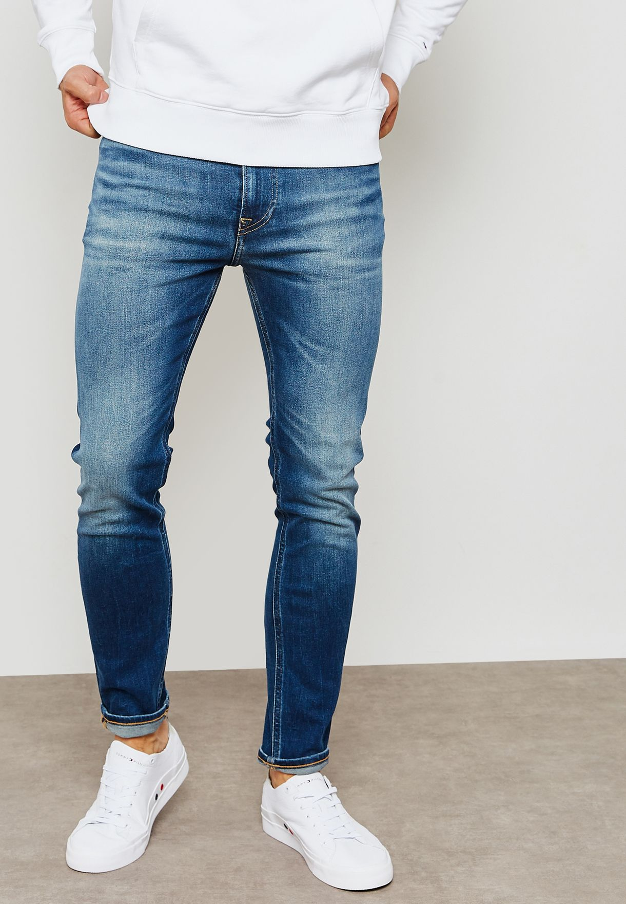 52394e6a5 Shop Tommy Hilfiger blue Simon Skinny Fit Jeans DM0DM04635 for Men ...