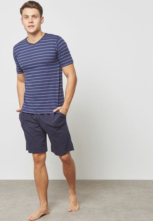 Striped T-Shirt And Short Set