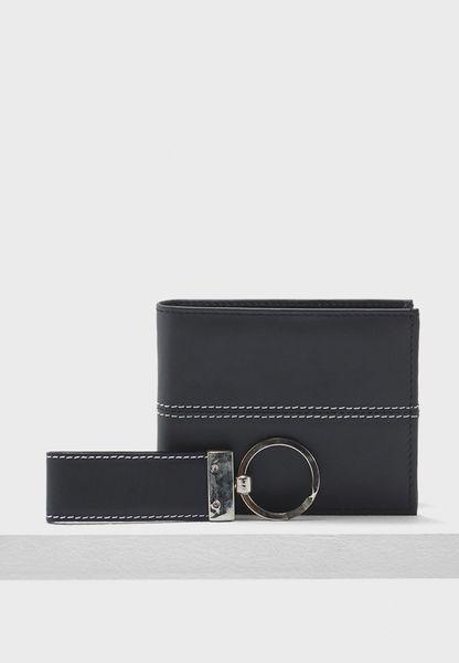 Leather Wallet + Keyring Gift Set