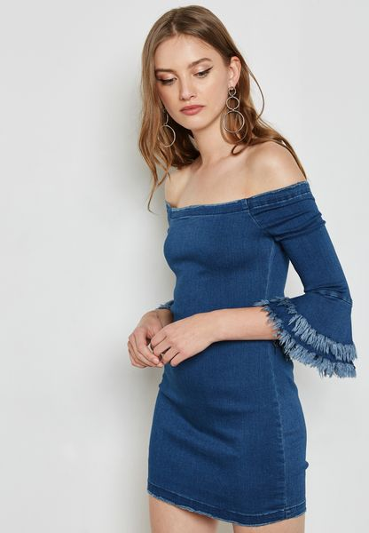 Bardot Frill Sleeve Dress