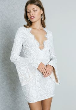 Lace Detail Plunge Bodycon Dress
