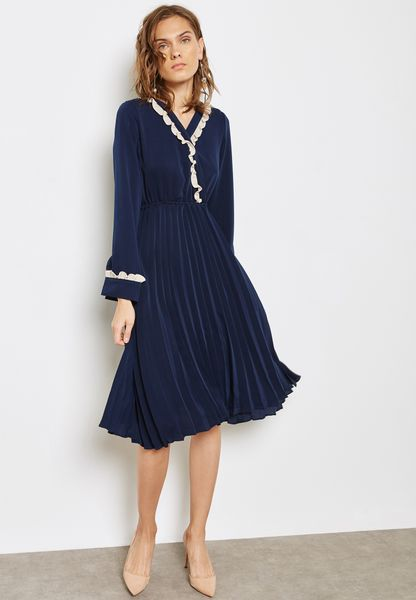 Lace Trim Wrap Front Pleated Dress
