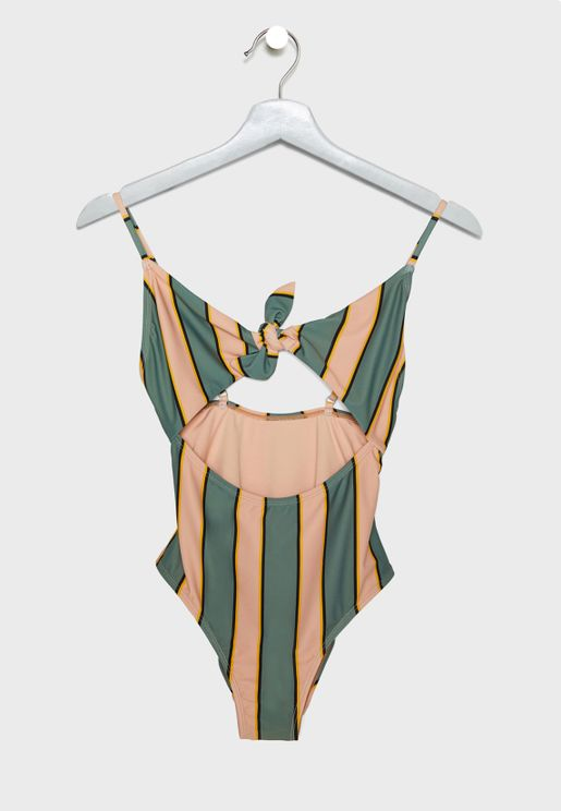 Cut Out Striped Swimsuit