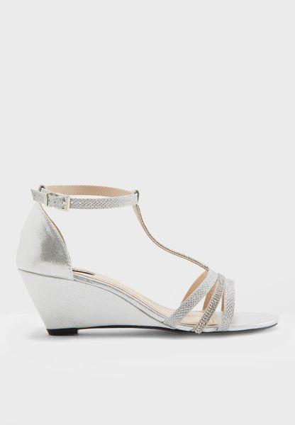 Diamante Strap Low Heel Wedge