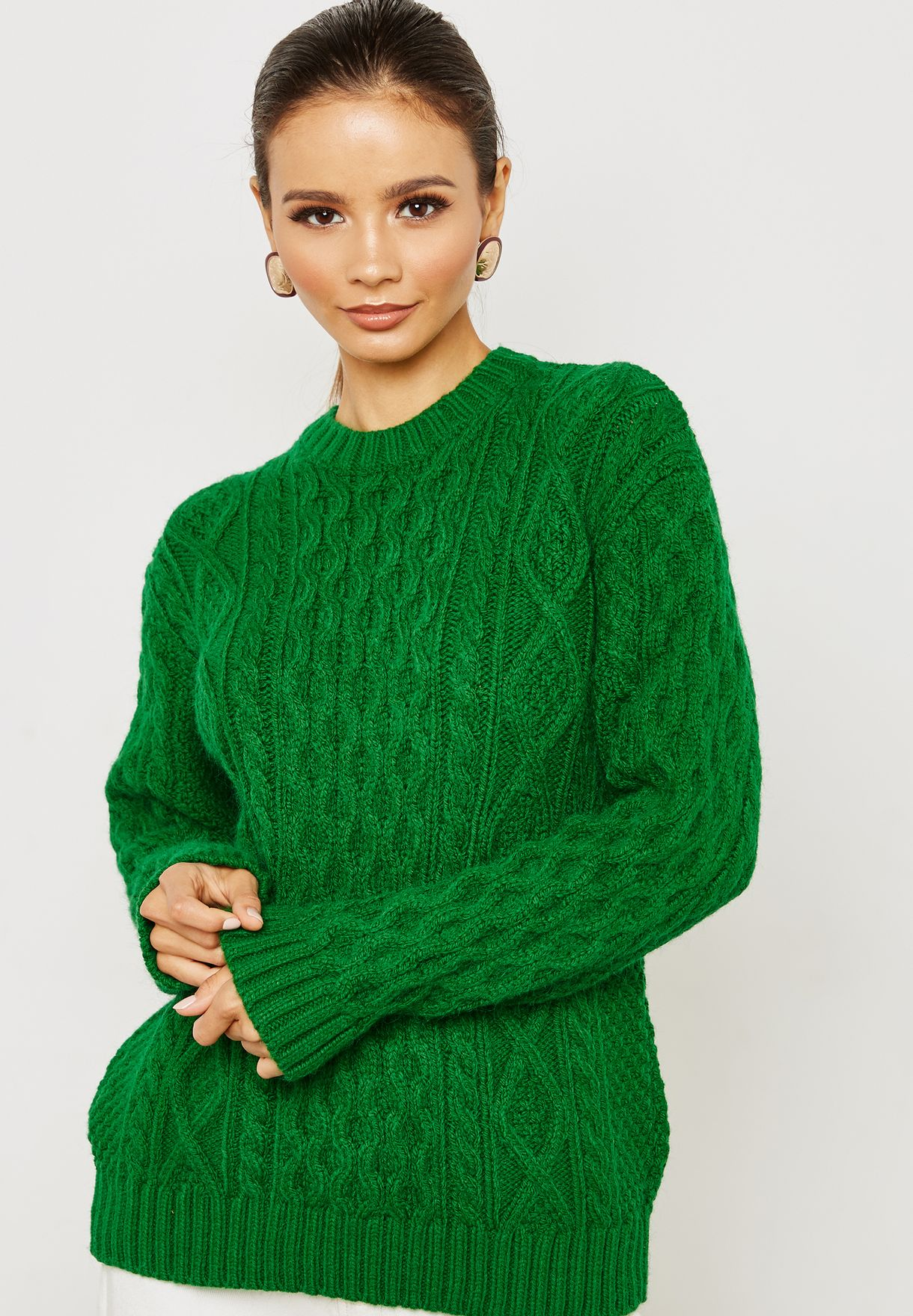 Shop Mango Green Cable Knit Sweater 33025019 For Women In Globally