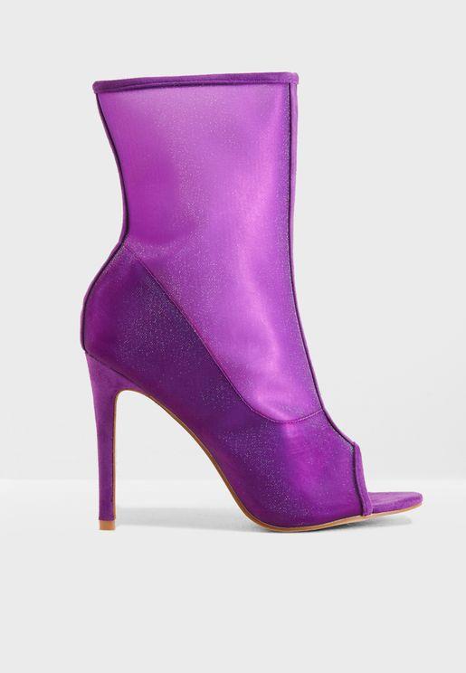 Bellini Mesh Peep Toe Ankle Boot