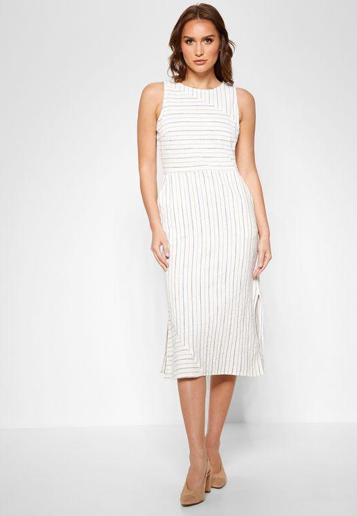 Striped Side Split Dress