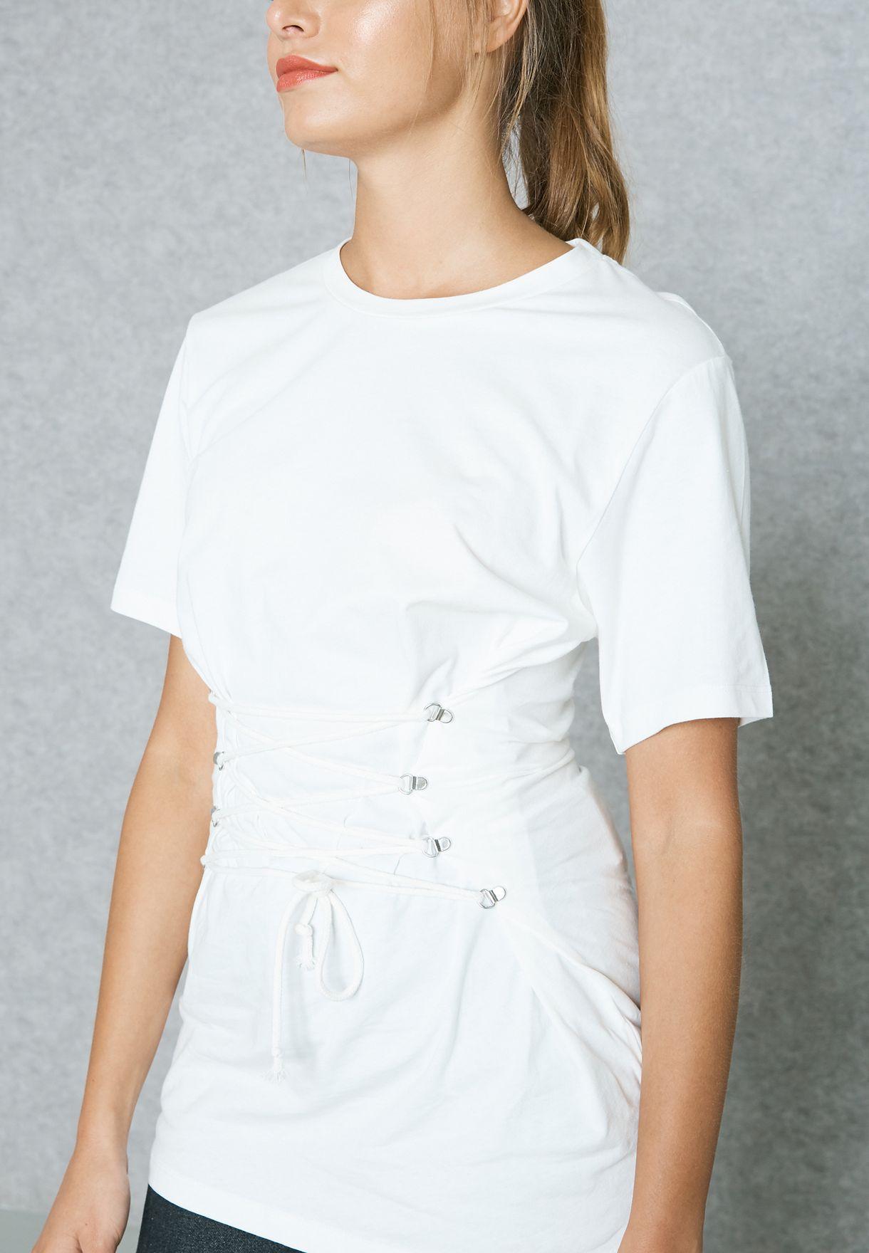 b0d6de77d3 Shop Topshop white Longline Corset T-Shirt 09T04LCRM for Women ...