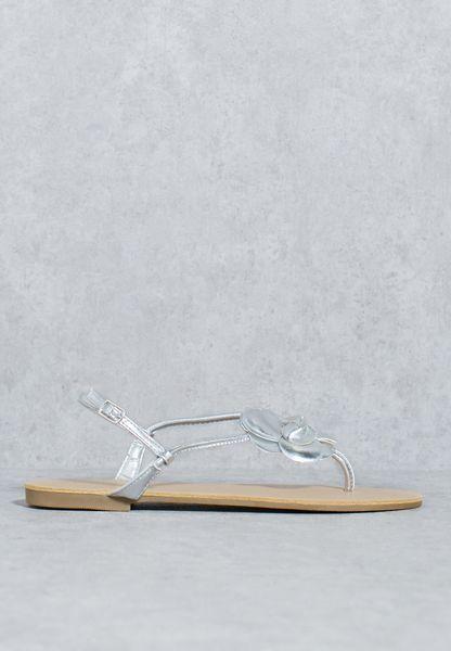 Flower Ankle Strap Flat Sandal