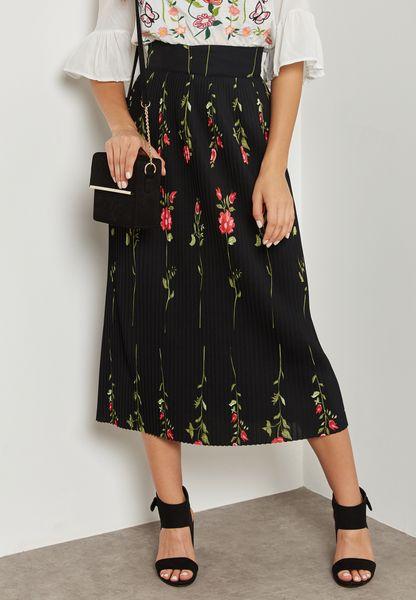Floral Print Pleated Skirt