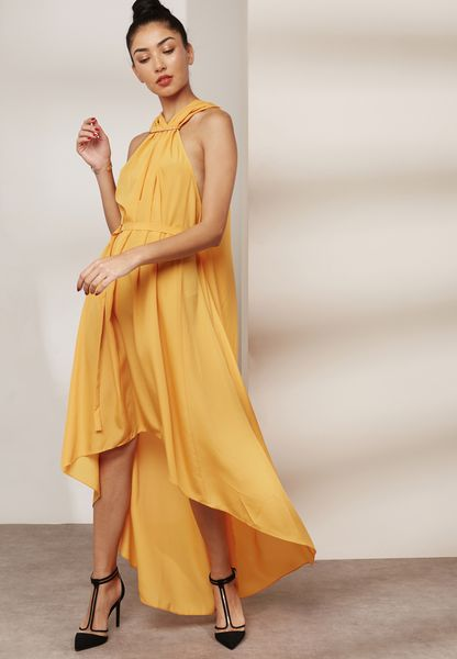 Ring Detail Pleated Maxi Dress
