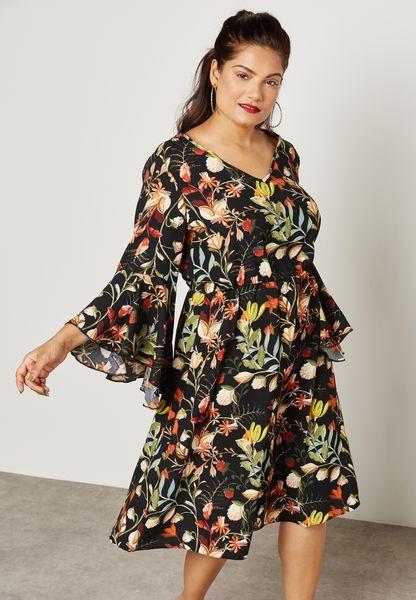 Floral Print Flute Sleeve Dress
