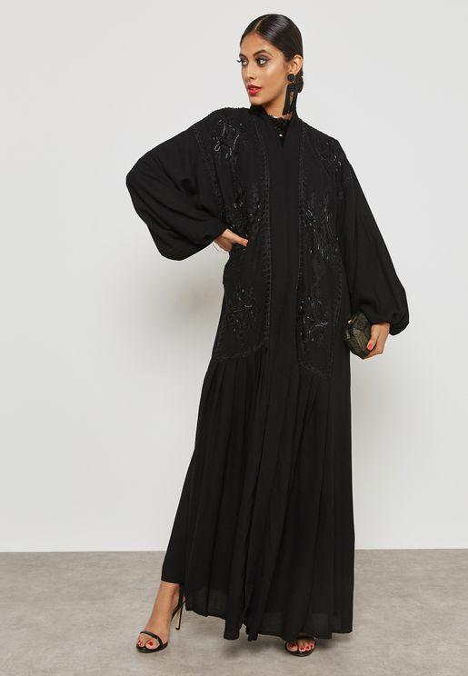 Embellished Pleated Detail Abaya