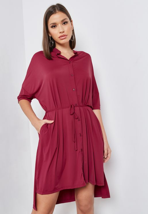 Long Back Self Tie Shirt Dress