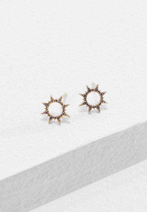 Crystal Sun Stud Earrings