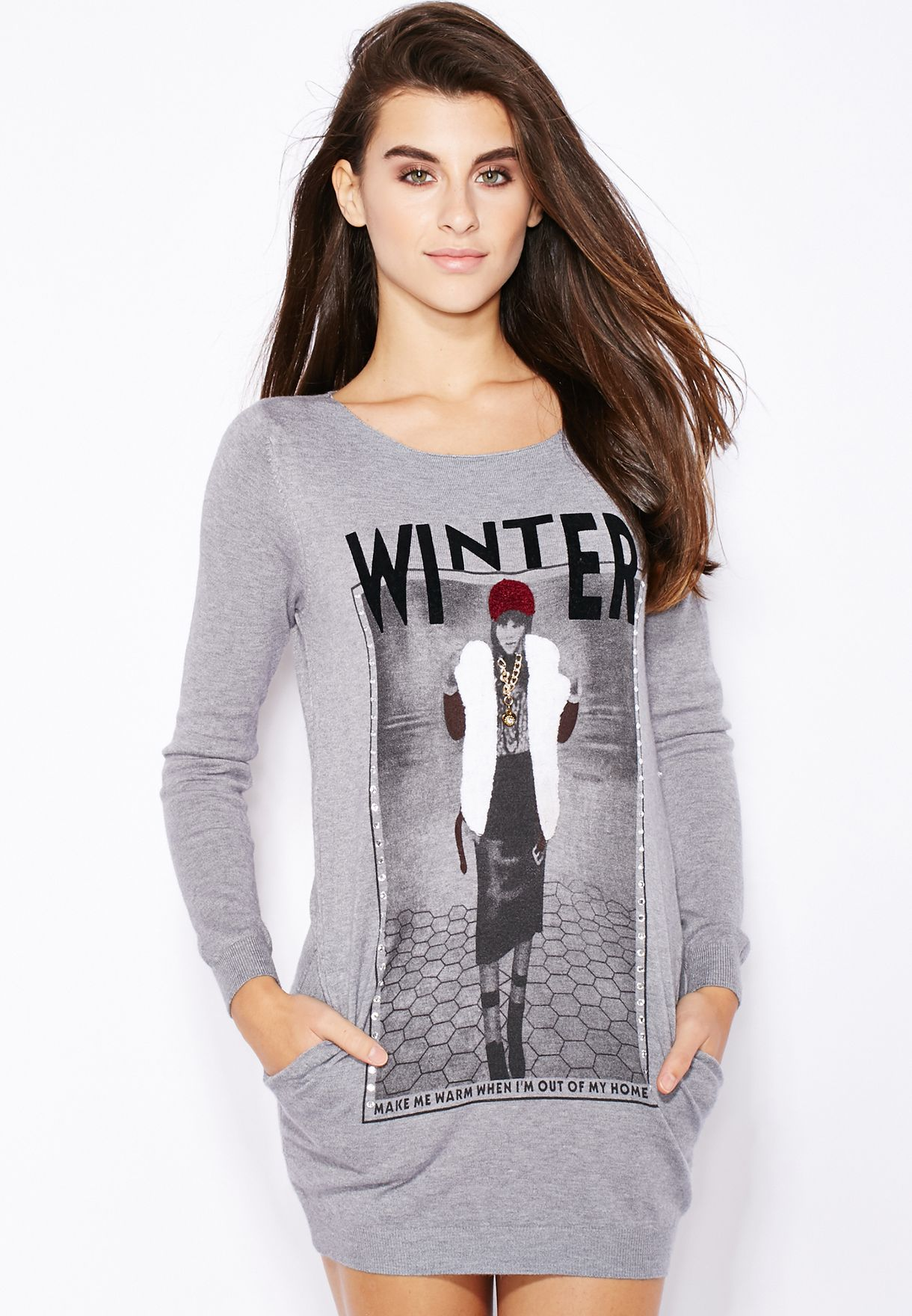 c0c36015090 Shop Ginger grey Slogan Sweater for Women in UAE - GI121AT51DPW