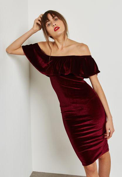 Ruffle Bardot Velvet Dress