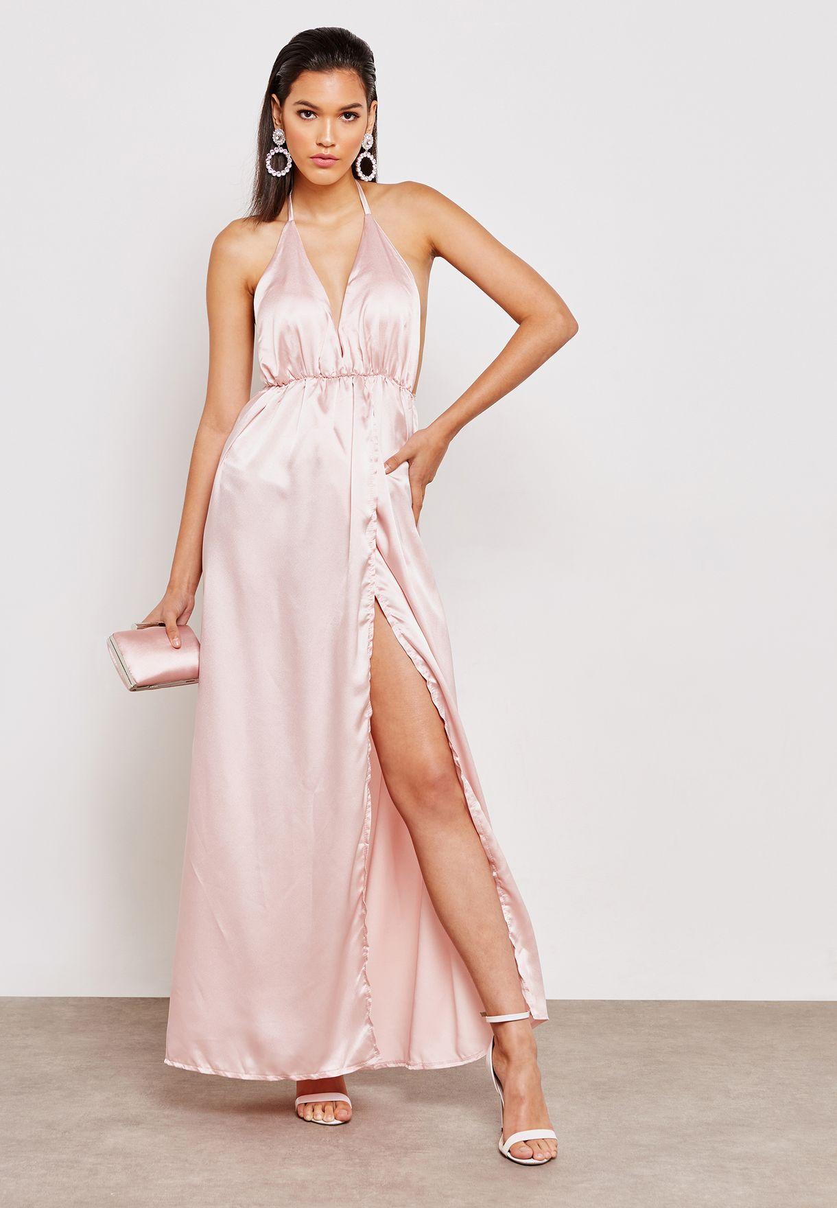 9ee4f0e06030 Shop Ruby Q pink Halterneck Satin Maxi Dress NA16-2018 for Women in UAE -  RU428AT51UAI