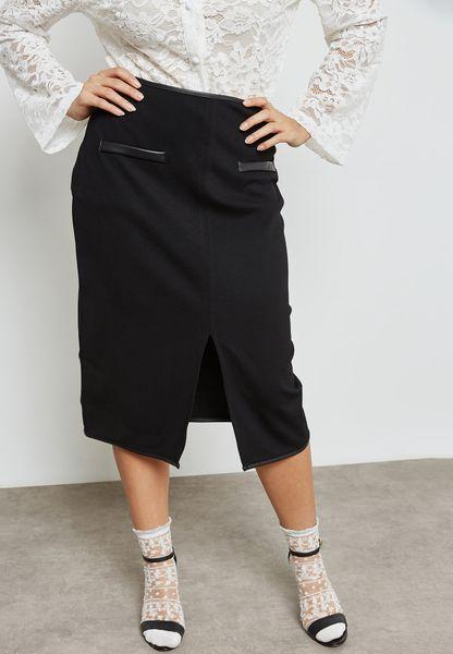 PU Pocket Detail Skirt