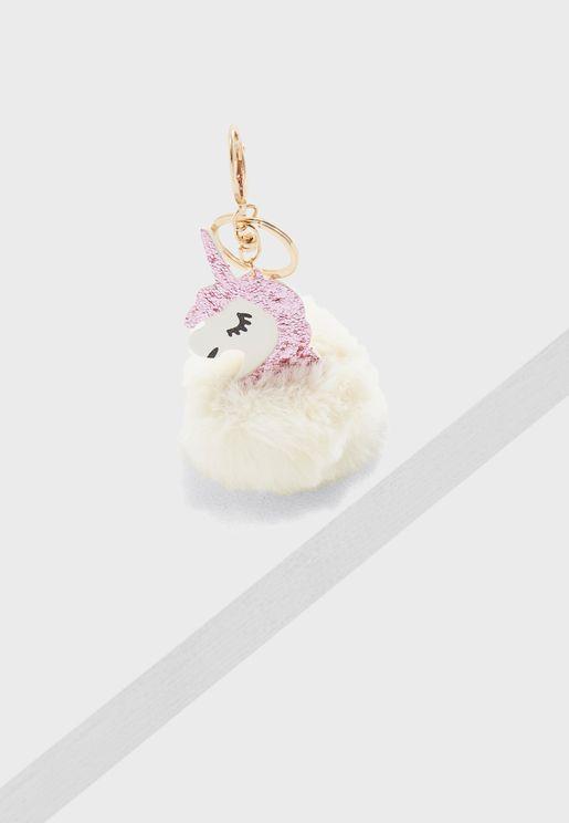 Unicorn Pom Pom Glitter Keychain
