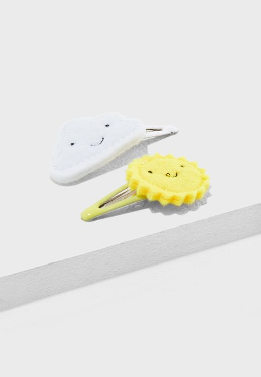 Kids 2 Pack Cloud and Sun Hair Clips