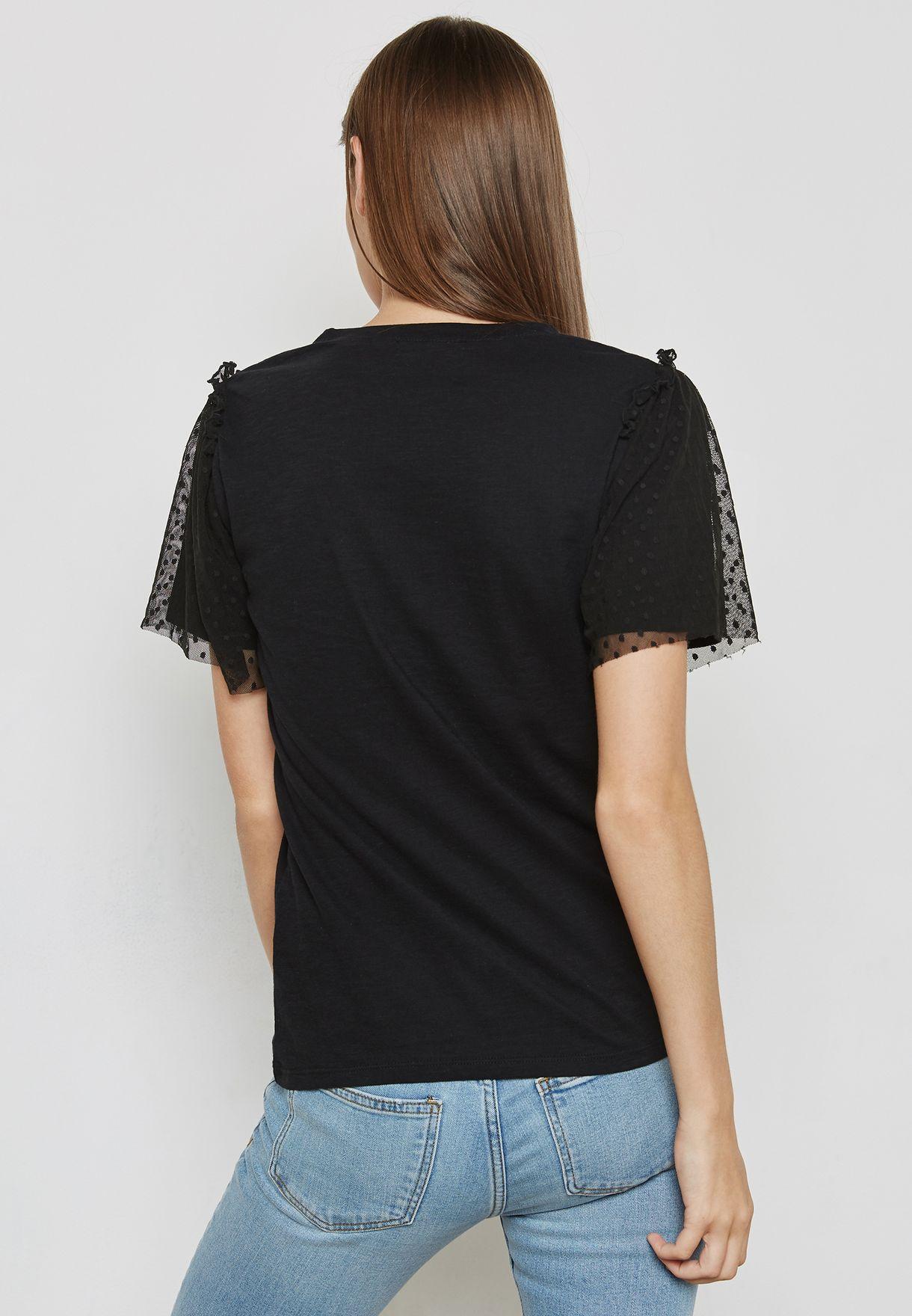 Dobby Mesh Sleeve T-Shirt