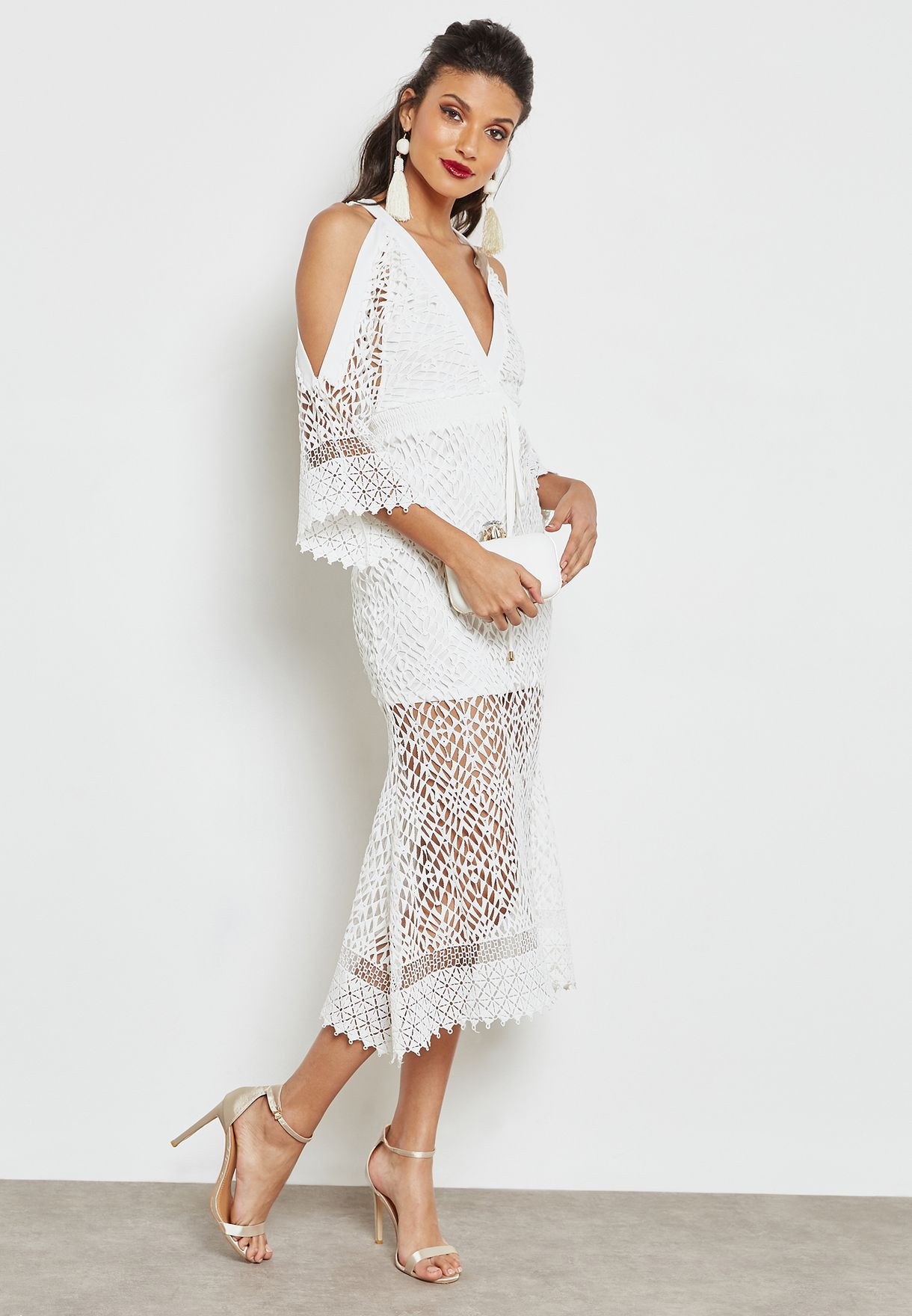 f804609109dc Shop The Clothing Company white Tie Up Midi Dress KD1251 for Women ...