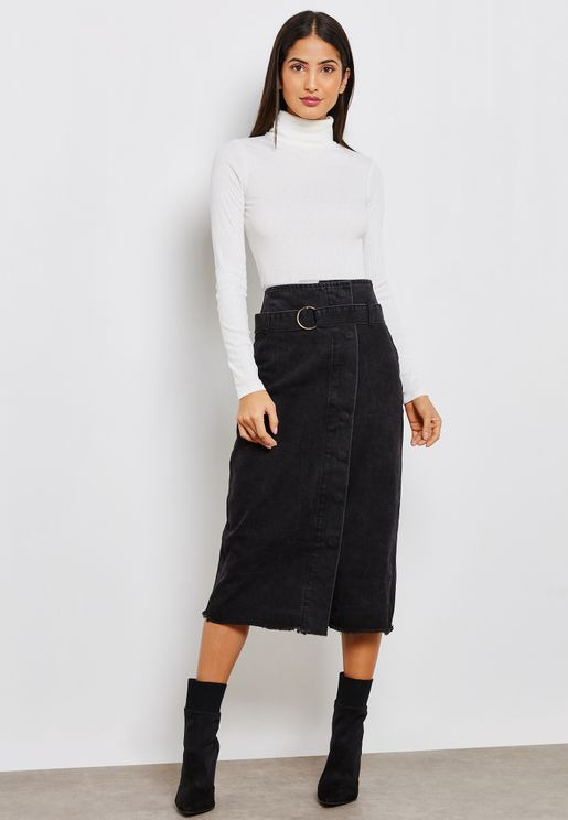 Tie Detail Denim Pencil Midi Skirt