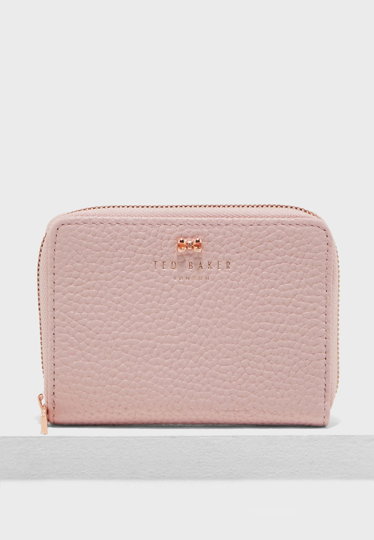 5e104890c310a8 Shop Ted baker pink Small Textured Zip Purse 145714 for Women in UAE ...