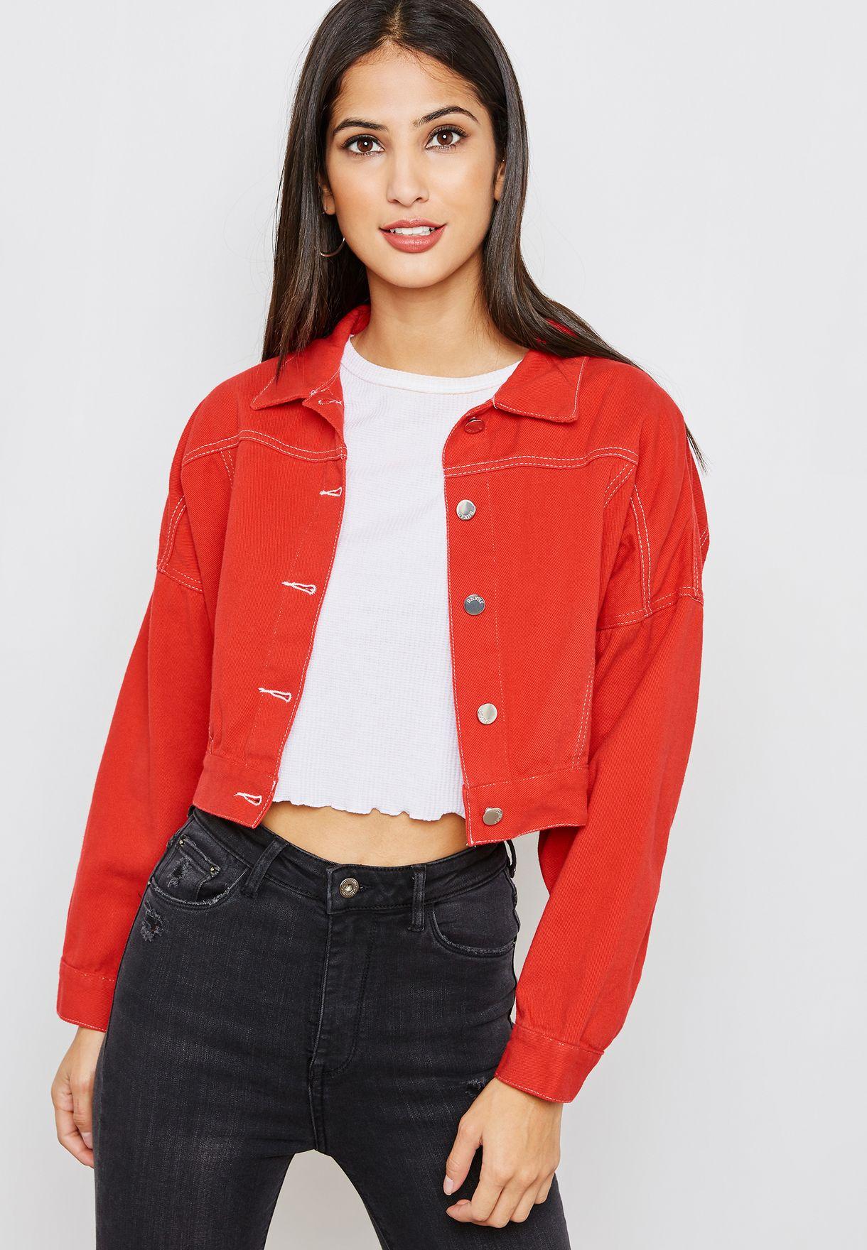 Shop Ginger Red Denim Jacket 8362 For Women In Kuwait Gi121at51pky